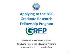 Applying to the NSF  Graduate Research