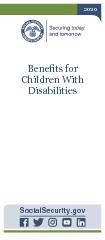 Benets For Children With Disabilities  Contacting Social Security Visit our website Our website www