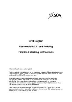 English Intermediate  Close Reading Finalis ed Marking Instructions  Scottish Qualifications Authority   The information in this publication may be reproduced to support SQA qualifications only on a