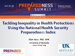 Progress and Priorities for the National Health Security Preparedness Index