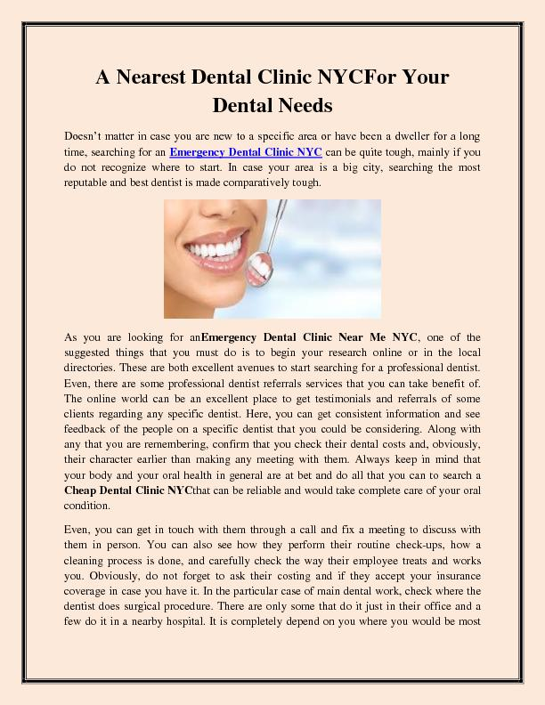 A Nearest Dental Clinic NYC For Your Dental Needs