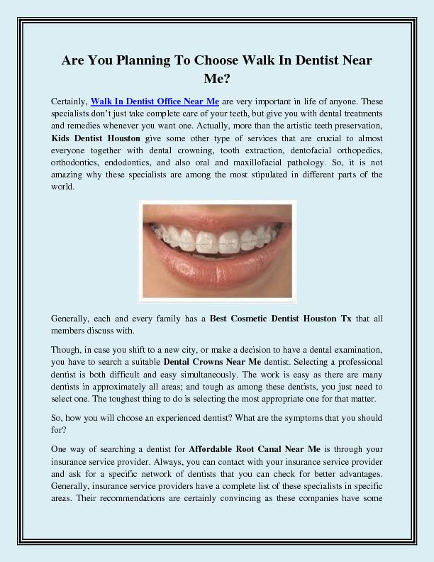 Are You Planning To Choose Walk In Dentist Near Me