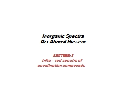 Inorganic Spectra Dr  : Ahmed Hussein