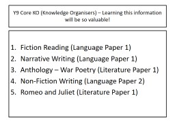 Y9 Core KO (Knowledge Organisers) � Learning this information will be so valuable!