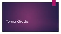 Tumor Grade Coding grade