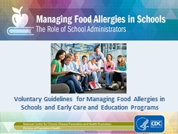 Voluntary Guidelines for Managing Food Allergies in Schools and Early Care and Education Programs