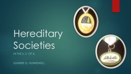 Hereditary Societies In the U. S. of A