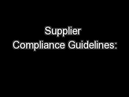 Supplier Compliance Guidelines: