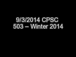 9/3/2014 CPSC 503 – Winter 2014 PowerPoint PPT Presentation