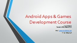 Android Apps & Games Development Course