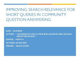 Improving Search Relevance for Short Queries in PowerPoint PPT Presentation
