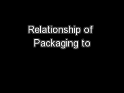 Relationship of Packaging to