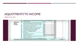 Adjustments to income  Spring 2018,