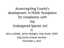 Assessing King County's development in FEMA Floodplains for compliance with