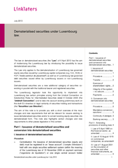 Dematerialis ed securities under Luxembourg law I July