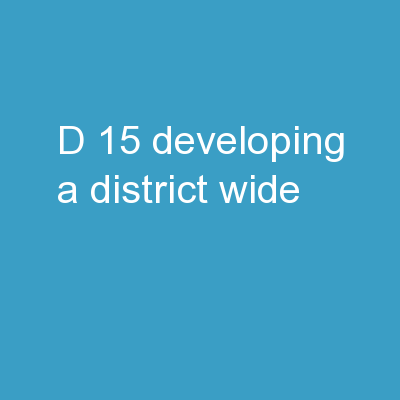 D 15 - Developing a District-Wide