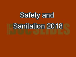 Safety and Sanitation 2018