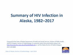 Summary of HIV Infection in Alaska, 1982–2017