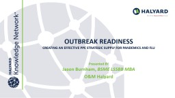 OUTBREAK READINESS Creating an Effective PPE Strategic supply for Pandemics and Flu