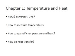 Chapter  1: Temperature and Heat
