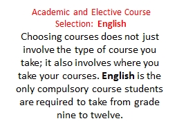 Academic and Elective Course