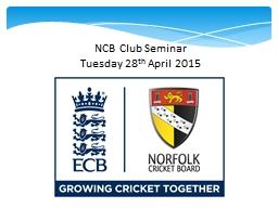 NCB Club Seminar Tuesday 28