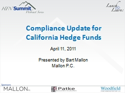 Compliance Update for  California Hedge Funds