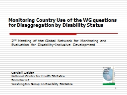 Monitoring  Country Use of the WG