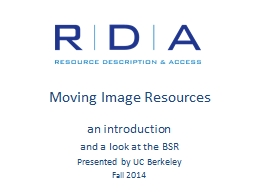 Moving Image Resources an introduction
