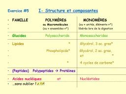 Exercice  #5      I- Structure et composantes