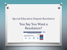 Special Education Dispute Resolution