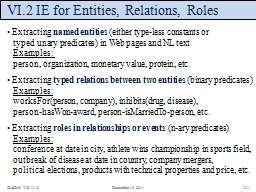 VI.2 IE for Entities, Relations, Roles