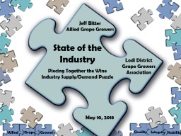 State of the Industry Piecing Together the Wine Industry Supply/Demand Puzzle
