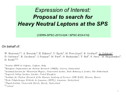 Expression of Interest: Proposal to search for