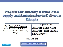 Ways  for Sustainability of Rural Water supply  and Sanitation Service Delivery in Ethiopia