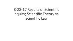8-28-17 Results of Scientific Inquiry; Scientific Theory vs. Scientific Law