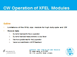 CW Operation  of  XFEL Modules Outline Limitations of the XFEL cryo module for high duty
