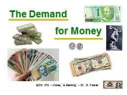 The Demand ECO 473 - Money & Banking - Dr. D. Foster for Money PowerPoint PPT Presentation