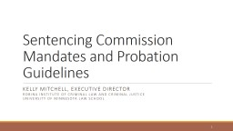 Sentencing Commission Mandates and Probation Guidelines Kelly Mitchell, Executive Director