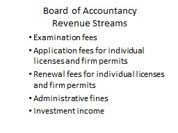 Board of Accountancy  Revenue Streams Examination fees Application fees for individual licenses and firm permits
