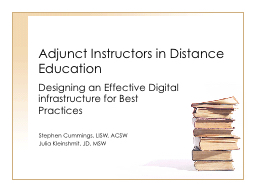 Adjunct Instructors in Distance Education Designing an Effective Digital infrastructure for Best Practices PowerPoint PPT Presentation