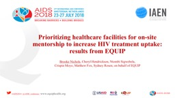 Prioritizing healthcare facilities for on-site mentorship to increase HIV treatment uptake: results from EQUIP