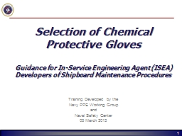 Selection of Chemical Protective Gloves
