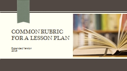 Common Rubric for a lesson Plan PowerPoint PPT Presentation