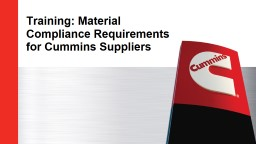 Training: Material Compliance Requirements