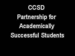 CCSD Partnership for Academically Successful Students