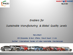 Enablers for Sustainable Manufacturing & Global Quality Levels