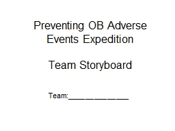 Preventing OB  Adverse Events