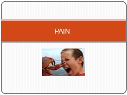 PAIN Objectives Understand Pain and Pain behaviors