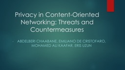 Privacy in Content-Oriented Networking: Threats and Countermeasures